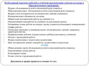 Необходимый перечень рабочей и отчётной документации учителя-логопеда в образ