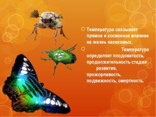 Температура оказывает прямое и косвенное влияние на жизнь насекомых. Температ
