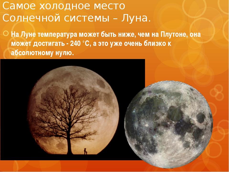 Самое холодное место Солнечной системы – Луна. На Луне температура может быть...