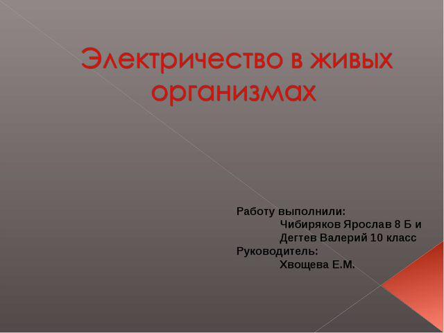 Работу выполнили: Чибиряков Ярослав 8 Б и Дегтев Валерий 10 класс Руководите...
