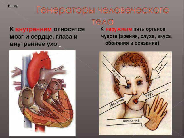 К наружным пять органов чувств (зрения, слуха, вкуса, обоняния и осязания). К...