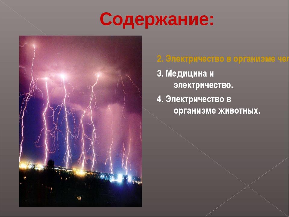 2. Электричество в организме человека. 3. Медицина и электричество. 4. Электр...