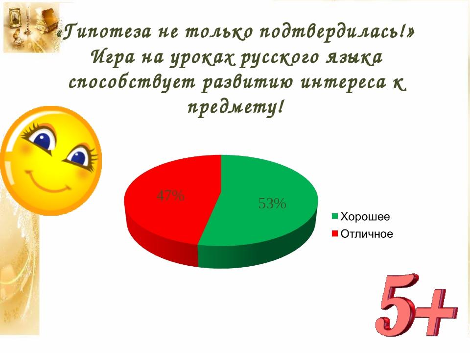 «Гипотеза не только подтвердилась!» Игра на уроках русского языка способствуе...