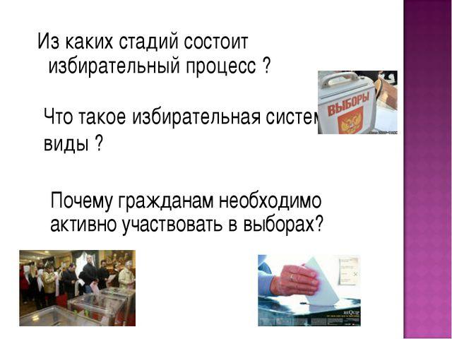 Из каких стадий состоит избирательный процесс ? Почему гражданам необходимо...