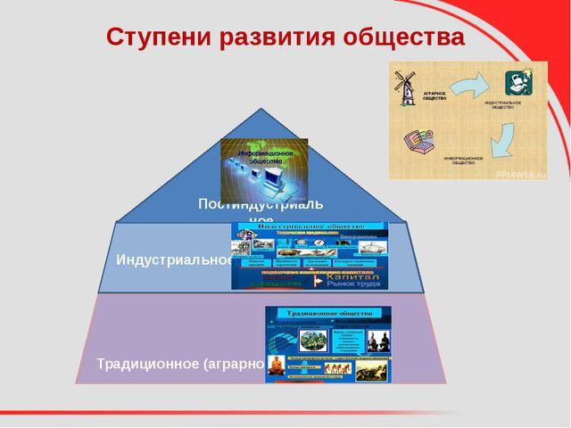 Ступени развития общества Традиционное (аграрное) Индустриальное Постиндустри...