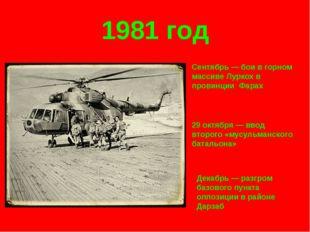 1981 год Сентябрь — бои в горном массиве Луркох в провинции Фарах 29 октября