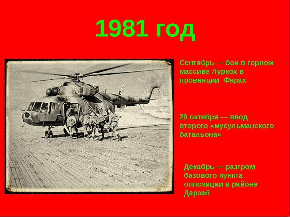 1981 год Сентябрь — бои в горном массиве Луркох в провинции Фарах 29 октября...