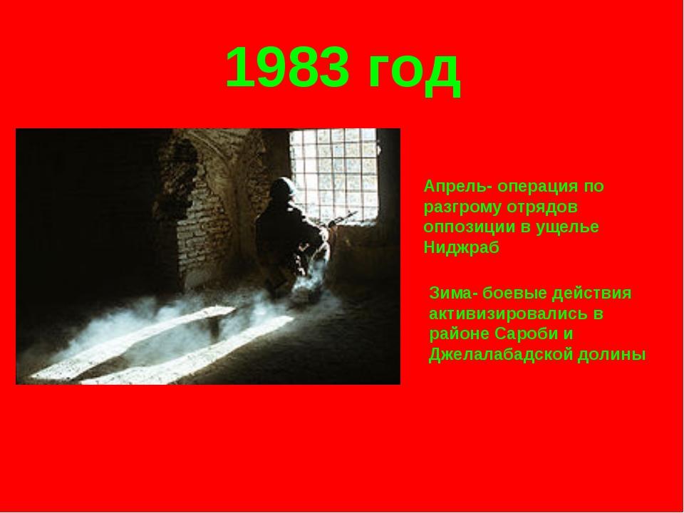 1983 год Апрель- операция по разгрому отрядов оппозиции в ущелье Ниджраб Зима...