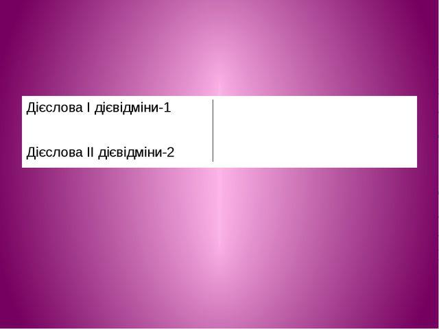 Дієслова І дієвідміни-1 Дієслова ІІ дієвідміни-2