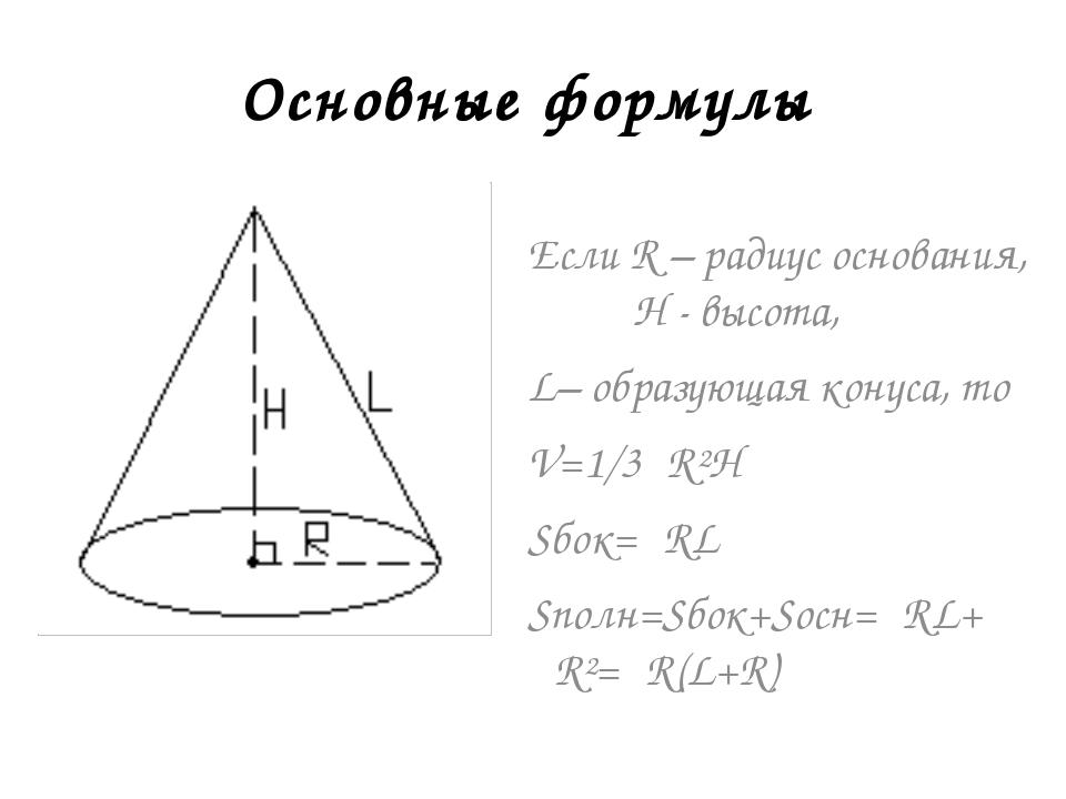Если R – радиус основания, H - высота, L– образующая конуса, то V=1/3πR²H Sбо...