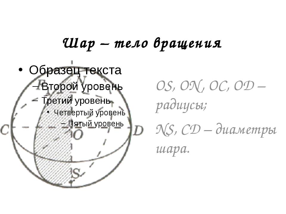 Шар – тело вращения OS, ON, OC, OD – радиусы; NS, CD – диаметры шара.