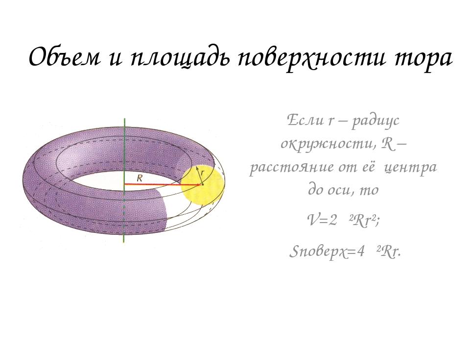 Объем и площадь поверхности тора Если r – радиус окружности, R – расстояние о...