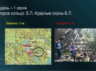 2 день – 1 июня Второе кольцо: Б.Л.-Красные скалы-Б.Л. Заявлено: 0 км Пройден
