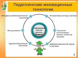 Педагогические инновационные технологии Современный учитель должен владеть Ин