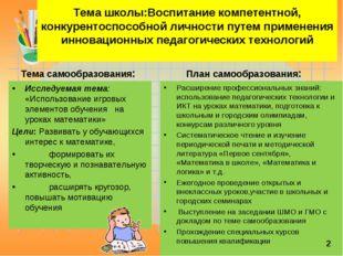 Тема школы:Воспитание компетентной, конкурентоспособной личности путем приме