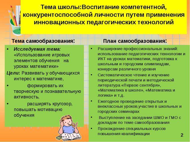 Тема школы:Воспитание компетентной, конкурентоспособной личности путем приме...