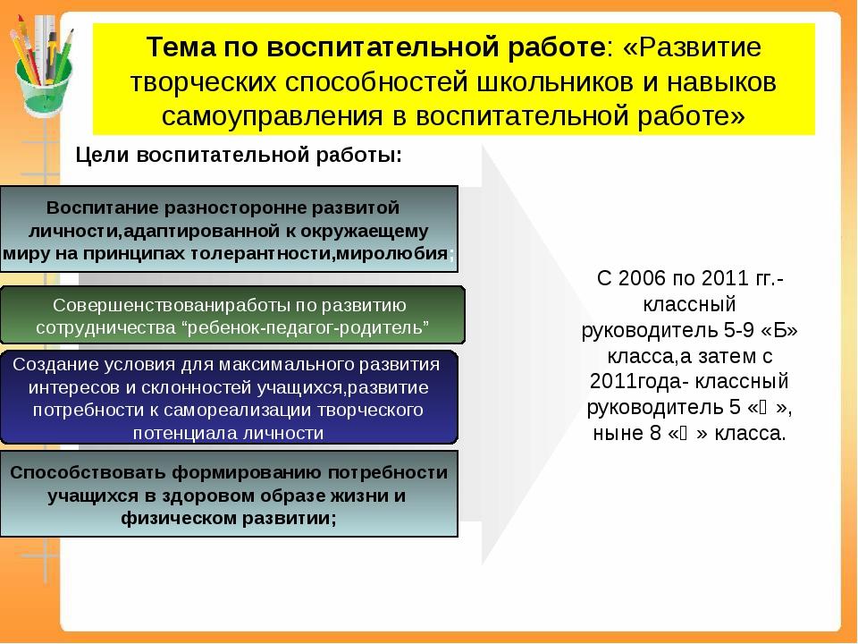 Тема по воспитательной работе: «Развитие творческих способностей школьников и...