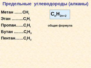 Предельные углеводороды (алканы) Метан ……СН4 Этан ……...С2Н6 Пропан…...С3Н8