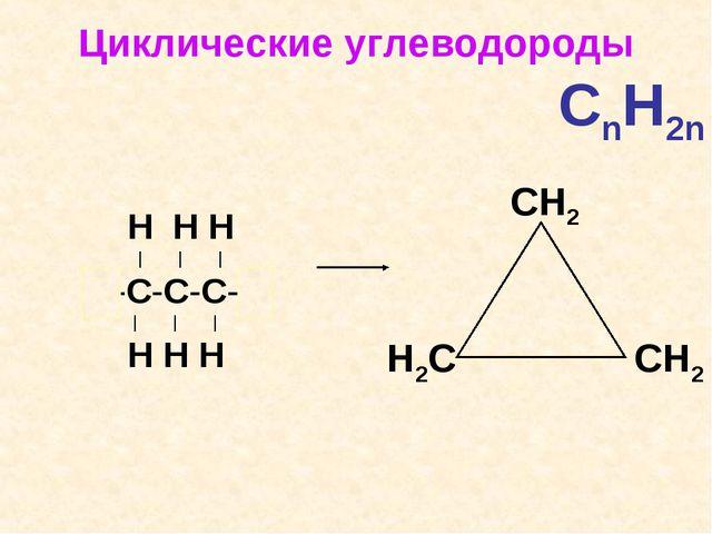 Циклические углеводороды  CnH2n Н Н Н | | | Н-С-С-С-Н | | | Н Н Н Н2C...