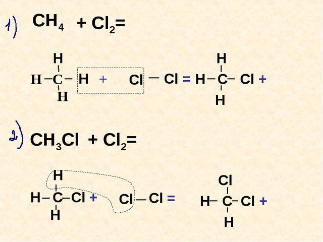 Н Н С + Н   СН4 Cl Н  Н Н С Cl + Н + Cl2= Н С Cl + Н Cl Cl = СН3Сl + Cl...