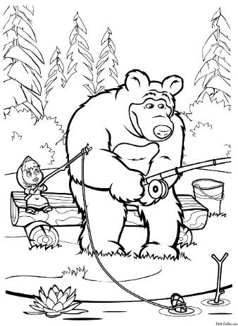 Раскраска Грустный Миша с Машей на рыбалке Раскраски Маша и медведь
