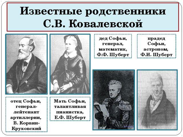 Известные родственники С.В. Ковалевской отец Софьи, генерал-лейтенант артилле...