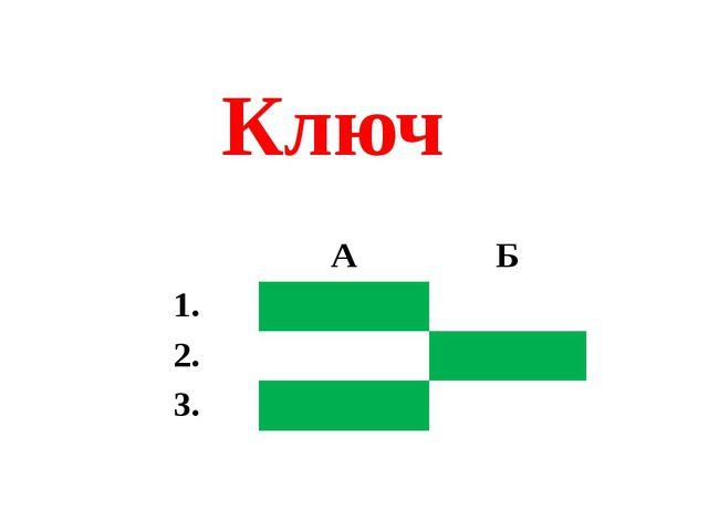 Ключ А Б 1. 2. 3.