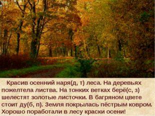 Красив осенний наря(д, т) леса. На деревьях пожелтела листва. На тонких ветк