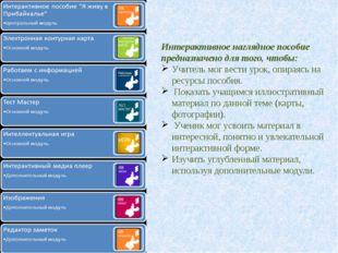 Интерактивное наглядное пособие предназначено для того, чтобы: Учитель мог ве