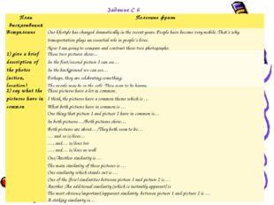 Задание С 6 План высказыванияПолезные фразы ВступлениеOur lifestyle has cha