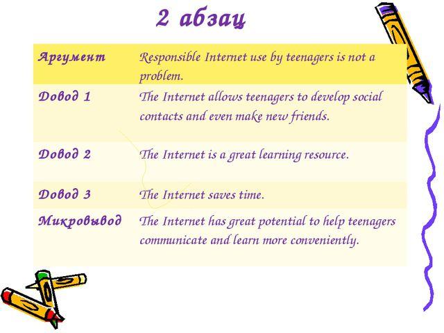 2 абзац АргументResponsible Internet use by teenagers is not a problem. Дово...