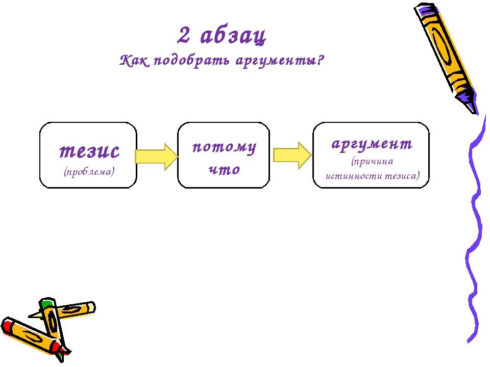 2 абзац Как подобрать аргументы? тезис (проблема) потому что аргумент (причин...