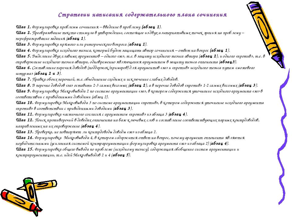 Стратегии написания содержательного плана сочинения  Шаг 1. Формулировка про...
