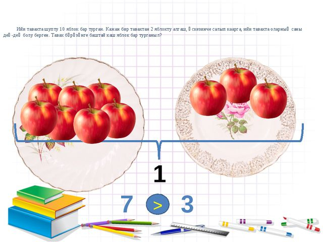 Ийи тавакта шупту 10 яблок бар турган. Кажан бир тавактан 2 яблокту алгаш, ө...