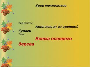 Вид работы: Аппликация из цветной бумаги Тема : Ветка осеннего дерева Урок те