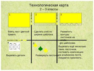Технологическая карта 2 – 3 классы 3 Взять лист цветной бумаги. Сделать сгиб