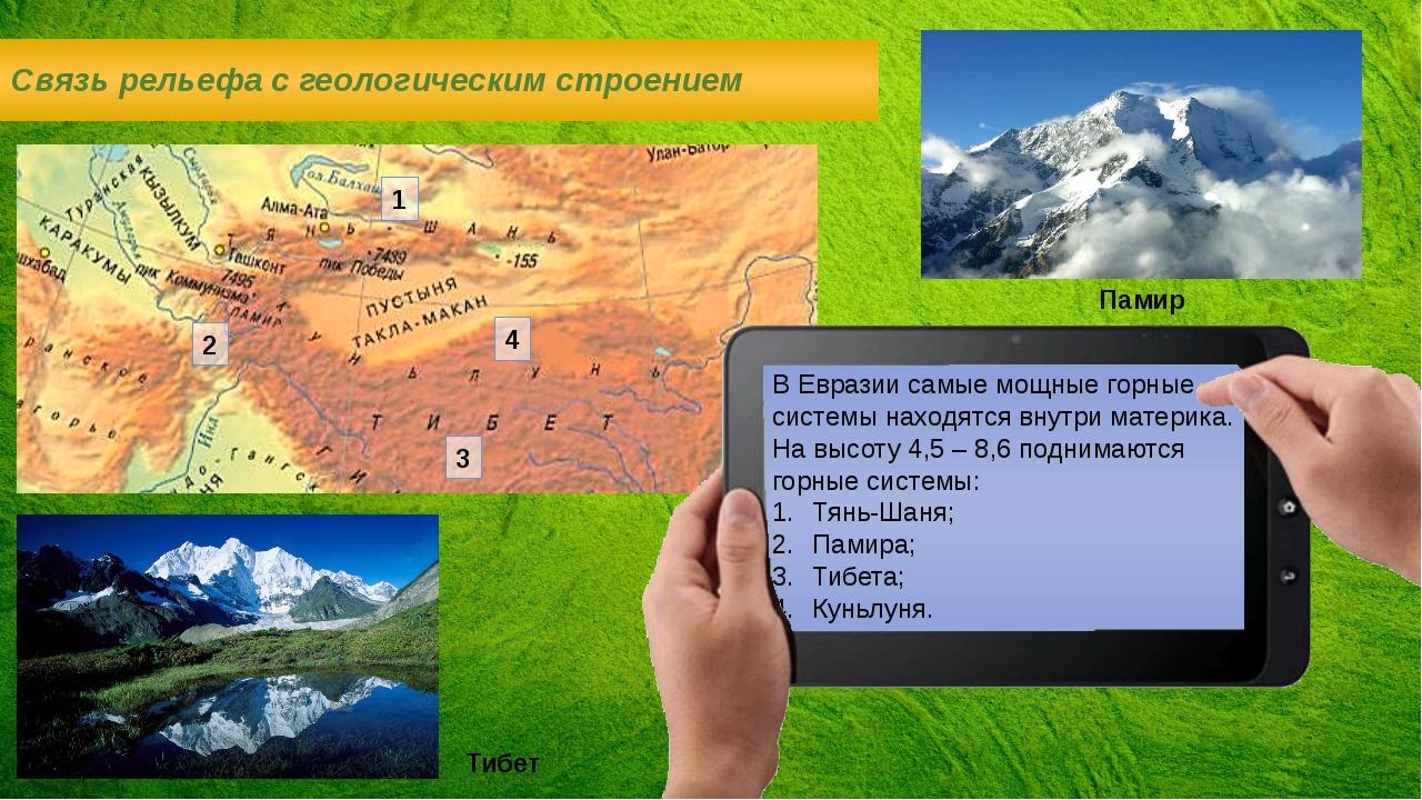 В Евразии самые мощные горные системы находятся внутри материка. На высоту 4,...