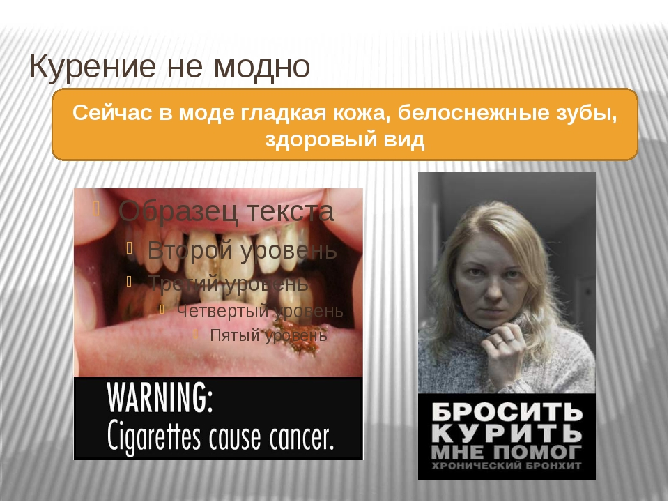 Курение не модно Сейчас в моде гладкая кожа, белоснежные зубы, здоровый вид