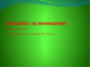 Спасибо за внимание! Работу выполнила: Сергеева Анжелика ученица 5»б» класса