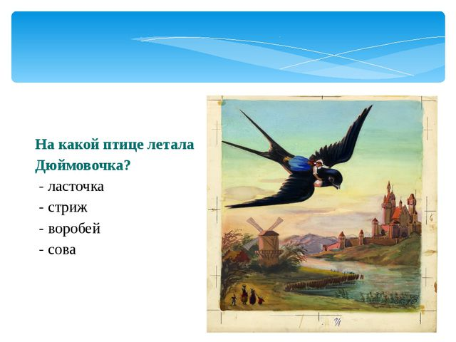 На какой птице летала Дюймовочка? - ласточка - стриж - воробей - сова