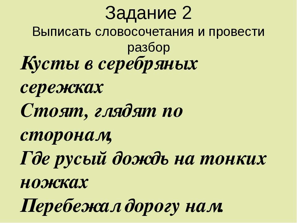 Задание 2 Выписать словосочетания и провести разбор Кусты в серебряных сережк...