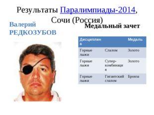 Результаты Паралимпиады-2014, Сочи (Россия) Валерий РЕДКОЗУБОВ Медальный заче