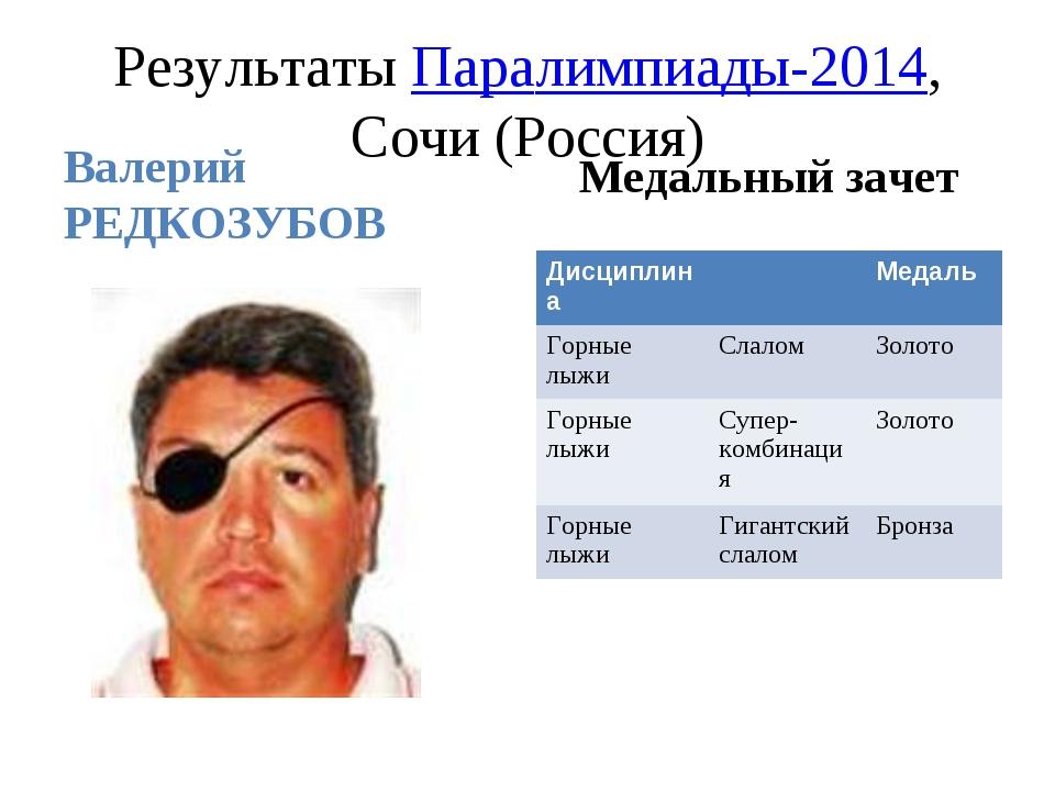 Результаты Паралимпиады-2014, Сочи (Россия) Валерий РЕДКОЗУБОВ Медальный заче...