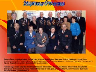 Верхний ряд, слева направо: Солдатенко Алексей Федорович, Бахтаров Сергей Ив
