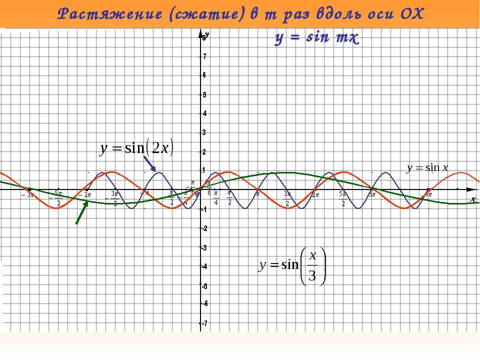 Растяжение (сжатие) в m раз вдоль оси OX y = sin mx