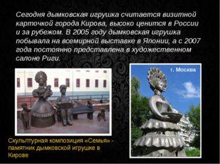 Сегодня дымковская игрушка считается визитной карточкой города Кирова, высоко