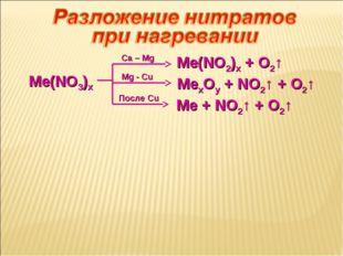 Me(NO3)x Ca – Mg Me(NO2)x + O2↑ Mg - Cu MexOy + NO2↑ + O2↑ Me + NO2↑ + O2↑ По