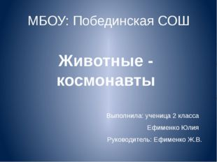 МБОУ: Побединская СОШ Выполнила: ученица 2 класса Ефименко Юлия Руководитель:
