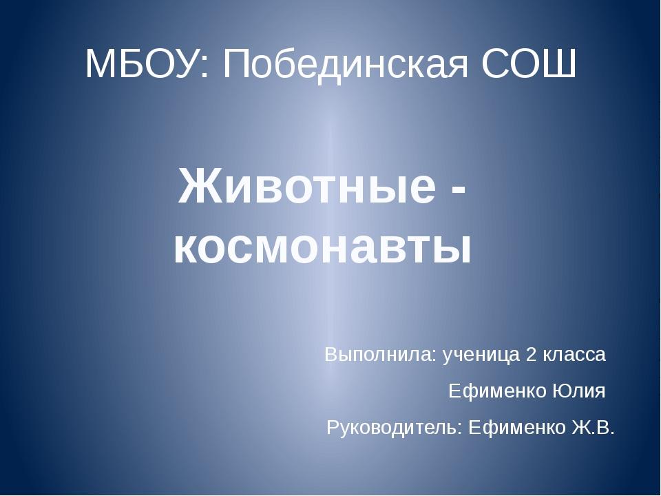 МБОУ: Побединская СОШ Выполнила: ученица 2 класса Ефименко Юлия Руководитель:...
