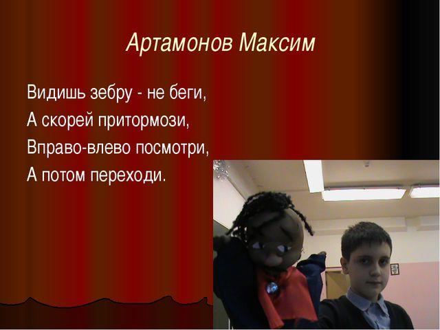 Артамонов Максим Видишь зебру - не беги, А скорей притормози, Вправо-влево по...